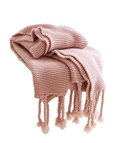 staychicfashion Cozy Chunky Knit Decorative Throw Blanket with Braided Fringe All-Season for Sofa 51x67 Inch(Pink) ()