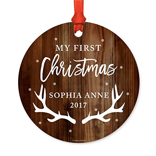 ized Family Metal Christmas Ornament, My First Christmas, Sophia Anne 2019, Rustic Wood, 1-Pack, Includes Ribbon and Gift Bag, Custom Name ()