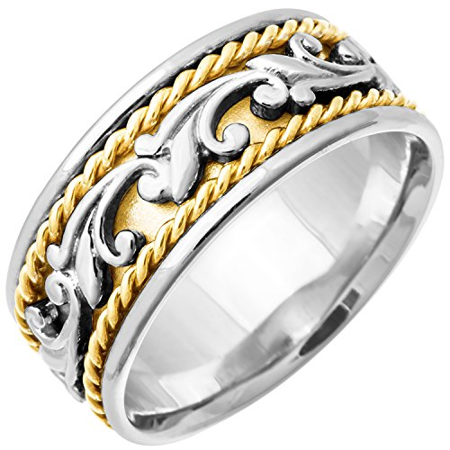 - 18K White Gold Floral Paisley Women's Comfort Fit Wedding Band (9mm) Size-6.5c1