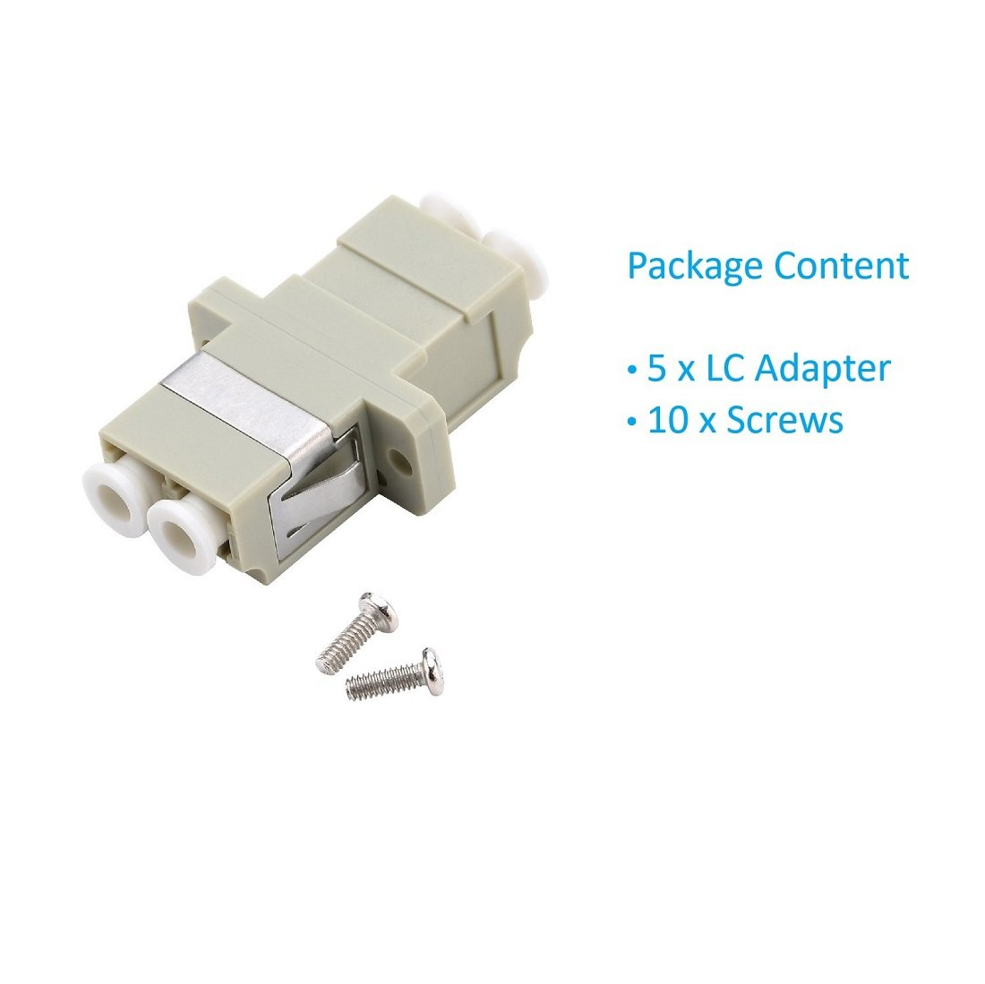 5 Pack LC Fiber Optic Adapter Blue Comm Cable LC to LC Duplex Singlemode Coupler