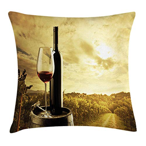 lsrIYzy Wine Throw Pillow Cushion Cover, Red Wine Bottle and Glass on Wooden Barrel Dramatic Sky Agriculture, Decorative Square Accent Pillow Case, 18 X 18 inches, Light Coffee Green Black