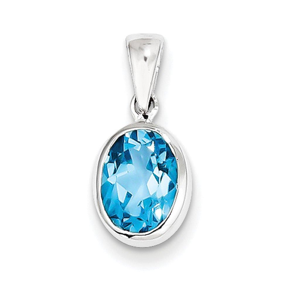 West Coast Jewelry Sterling Silver Rhodium Light Swiss Blue Topaz Pendant