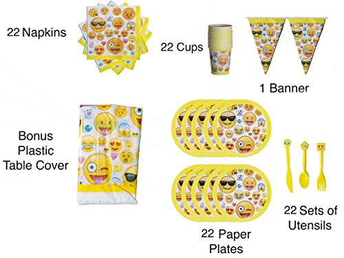 Emoji Party Favor Supplies Happy Birthday Kit Set of 22 Pack Spoon Fork Knife Paper Plate Cup Napkin For Congratulation Decoration Anniversary Festival Graduation Bouquet Gift Parties Celebration Kid