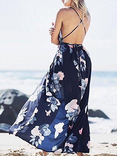 Split Maxi Deep Print 1 Neck V Sexy Dress Print BerryGo Party Women's Floral Backless q8fZEzn