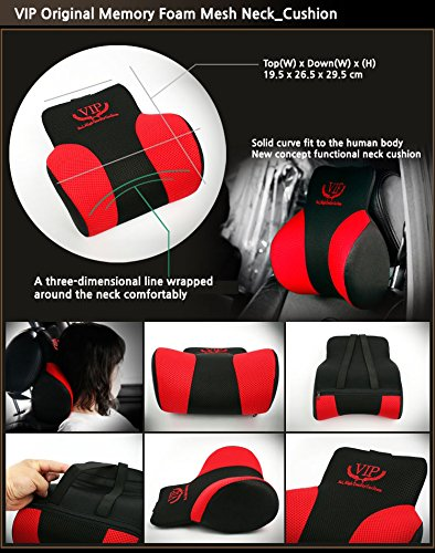1pack VIP Red Black Mesh Memory Form Car Seat Cushions Head Neck Rest Cushion Pillow Pad for Car Motors Auto Vehicle