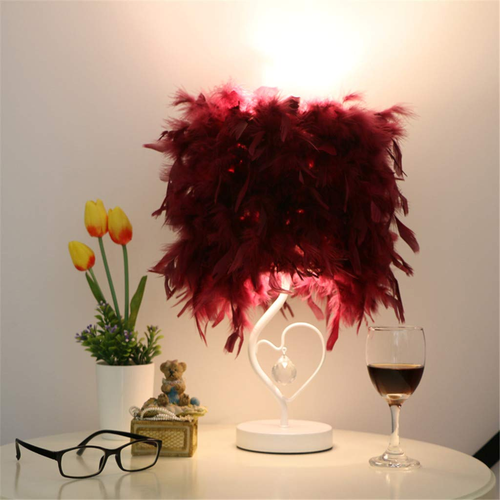 Feather Table Light, Bedside Reading Room Room Room Herzform Tischlampe mit Federnkristall,lila,touchswitch B07LCQF66P | Deutschland Outlet  c10615