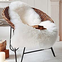 Cleana Arts Nordic Style Premium Faux Sheepskin Rug Carpet with Super Fluffy Thick Fur, Fits Perfectly in Living Room / Bed Room or as a Couch Decor. Approx. 2.1ft. x 3.3ft. (lvory White)