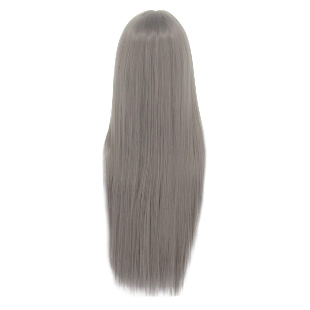 Clearance Long Straight Wig | Inkach Black Womens Synthetic Wigs with Neat Bangs Heat Resistant Costume Party Female Wig Full Human Hair (Coffee Wig) Inkach - Womens Wigs