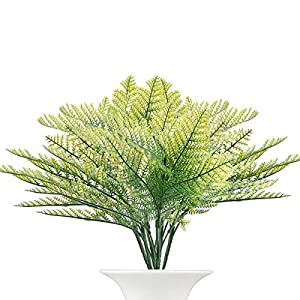 The Bloom Times Artificial Fake Plant 6Pcs/Bag,Faux Boston Fern Bush Plastic Plant Shrubs Greenery Bushes Flower Arrangement for Home Kitchen Office Balcony Dining Room Hanging Planter 59
