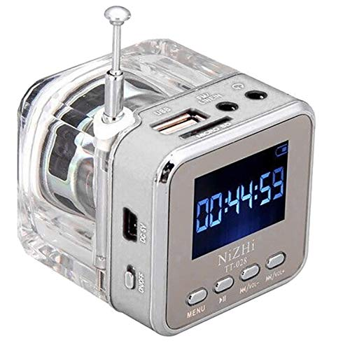 Portable Mini USB MicroSD Card FM Radio Double Aerial LCD display Built-in Battery Speaker Music MP3 Player (Silver)