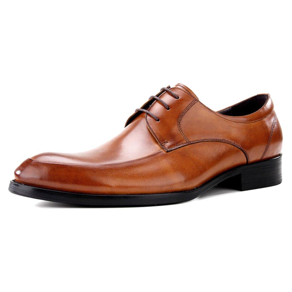 MERRYHE Männer Business Formelle Kleidung Derby Schuhe Oxford Echtes Leder Schnürschuhe Spitzschuh Oxford Schuhe Schuh Für Party Work Walking Hochzeit Braun 838020