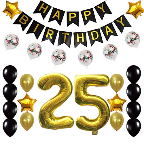 25th Birthday Decorations Party Supplies Happy 25th Birthday Confetti Balloons Banner and 25 Number Sets for 25 Years Old Party(Gold)]()