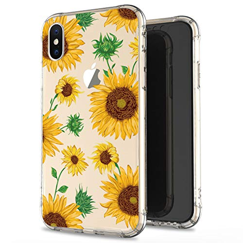 JIAXIUFEN Compatible with iPhone X iPhone Xs Case Clear Cute Gold Sunflowers Slim Shockproof Flower Floral Desgin Soft Flexible TPU Silicone Cover Phone Case