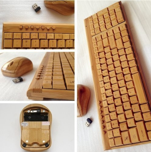 Smart Tech Handcrafted Natural Bamboo Wooden PC Wireless 2.4GHz Keyboard and Mouse Combo by Smart Tech