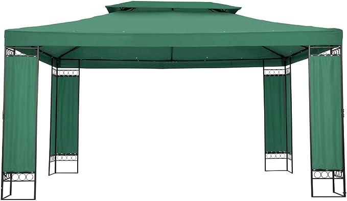 Uniprodo Pérgola De Metal Pabellón para Terraza Uni_PERGOLA_3X4GF (Toldo de 3 x 4 m, 160 g/m², Altura Total: 2,60 m, Verde Oscuro)