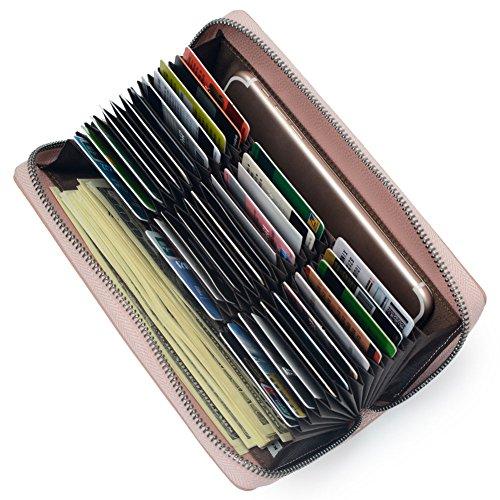 36 Credit Card Holder Wallet Leather RFID Women Card Case Organizer Purse (Rose Gold) by Bveyzi