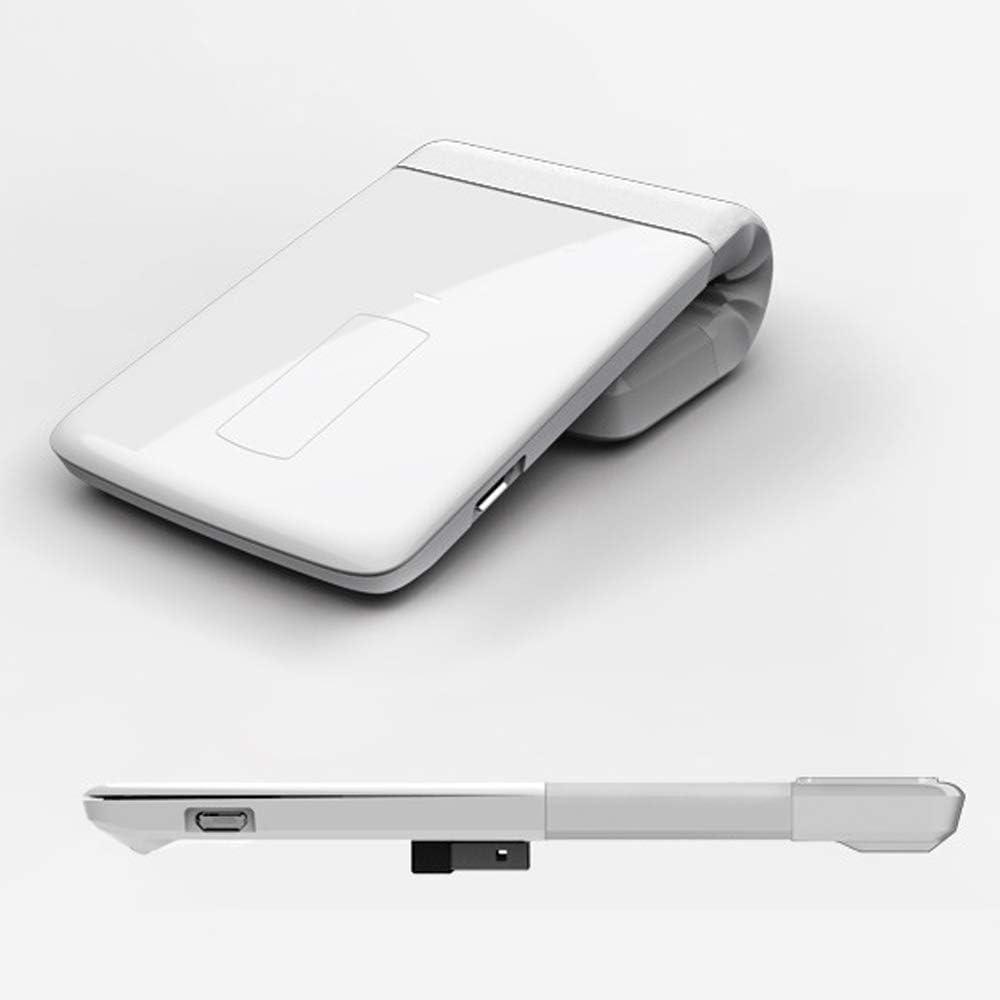 WANGCHAO 2.4G Draadloze Bluetooth Muis, Touch Wheel 180° Vouwen Verstelbare 2000DPI Oplaadbare Ultra-Dunne Stille Muis voor Notebooks (Bluetooth-modellen), Kleur: wit Kleur: wit