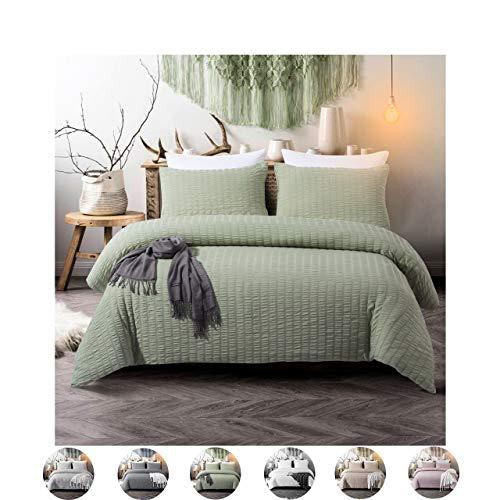 (3 Pieces Set Sage Green Bedding Green Duvet Cover Set Green Seersucker and Washed Microfiber Reversible Design Seersucker Bedding Sets Queen (90