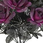 1-Black-1-Purple-Rose-Bush-Bouquet-Floral-Halloween-6-Stem-14-each