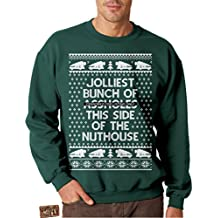 Vintage Fly Mens Ugly Christmas Sweater Jolliest Bunch Of Assholes Pullover Sweatshirt