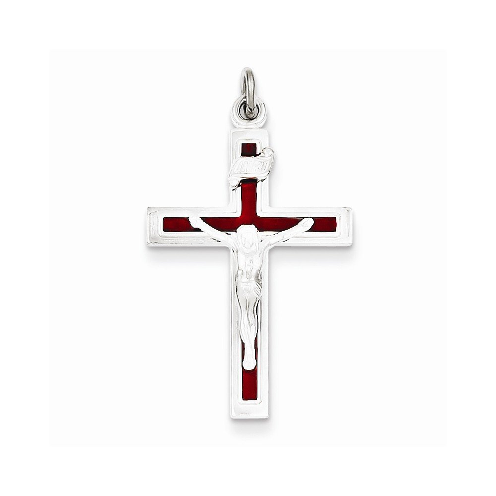 Sterling Silver Enameled Crucifix Pendant Best Quality Free Gift Box