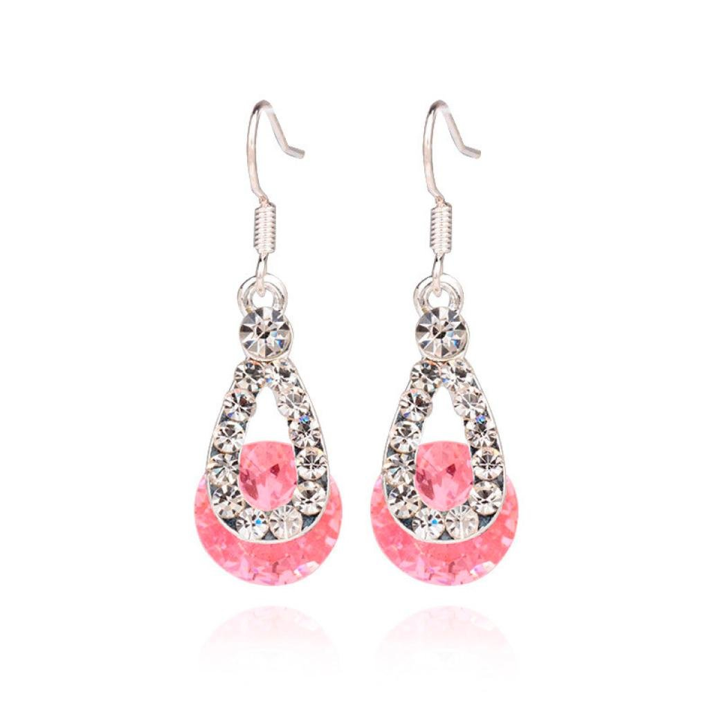 Mujers Pendientes, Xinan Cristalino Grande Pendientes Colgantes Largos Blanco Rosa (Rosa) Xinxinshidai Xinantime_1769