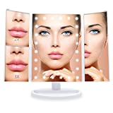 #8: Jessie Cake - Tri Fold Makeup Vanity Mirror with 21 adjustable LED Lights, 3x/2x Magnification, Touch Screen and 180° Adjustable Rotation, Dual Power Supply, Countertop Cosmetic Mirror (Pearl White)