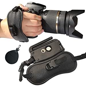 First2savvv OSH0402 profesional muñeca Grip de cuero correa de mano para Panasonic Lumix DMC-FZ200 con para filtro UV para