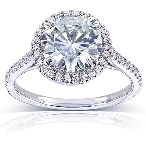 (Round-cut Moissanite Engagement Ring 2 CTW 14k White Gold (8.0mm), Size 6, White Gold)