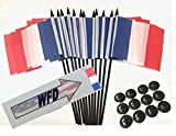Pack of 12 4''x6'' France Polyester Miniature Office Desk & Little Table Flags, 1 Dozen 4''x 6'' French Small Mini Handheld Waving Stick Flags with 12 Flag Bases (Flags with Stands)