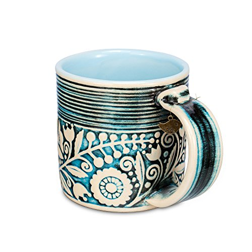 H-Line Handmade Unique 3D Ceramic Mugs, 14.5-Ounce – Blue