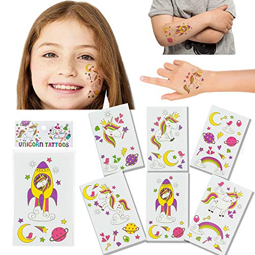 Unicorn Temporary Tattoos for Kids - 24 Tattoos (12 Sheets) - Great Unicorn Party Favors for Girls & Boys - Waterproof, Press on, and Removable