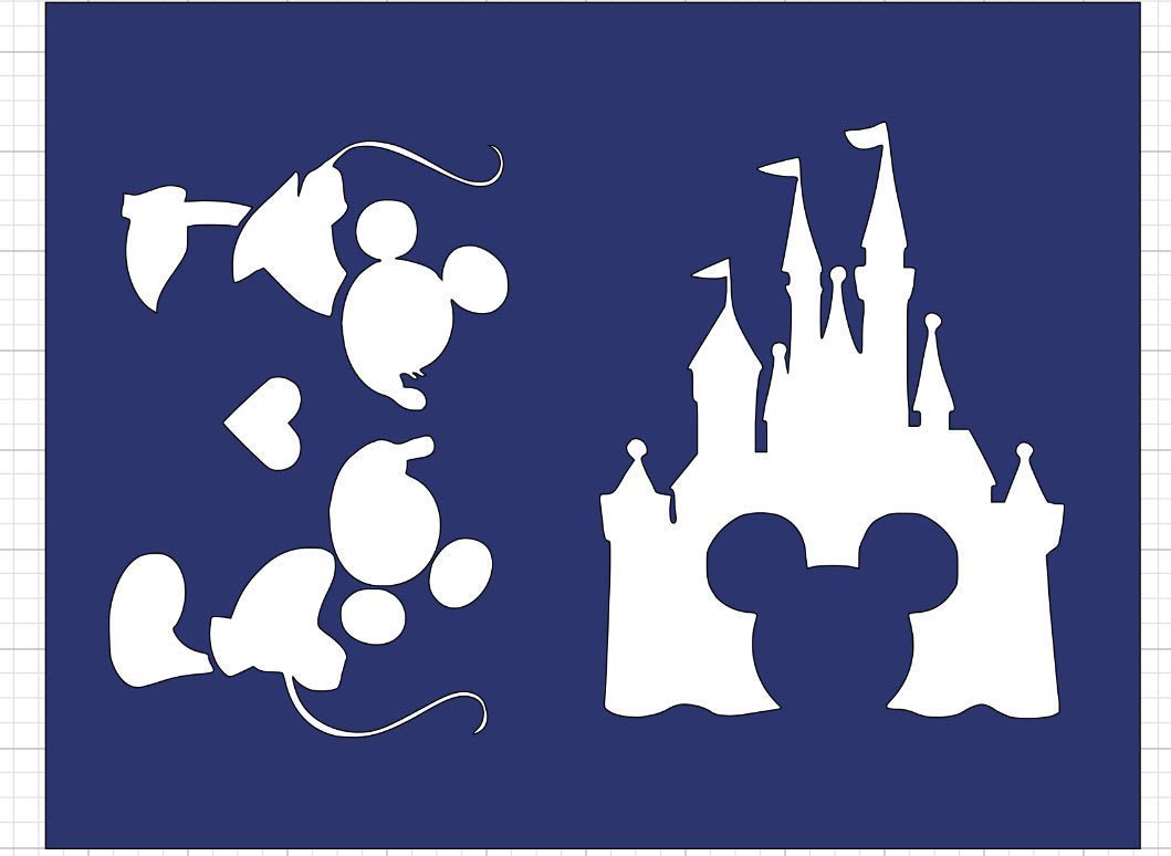 Disney Castle And Mickey Mouse Stencil Set FUll Sheet
