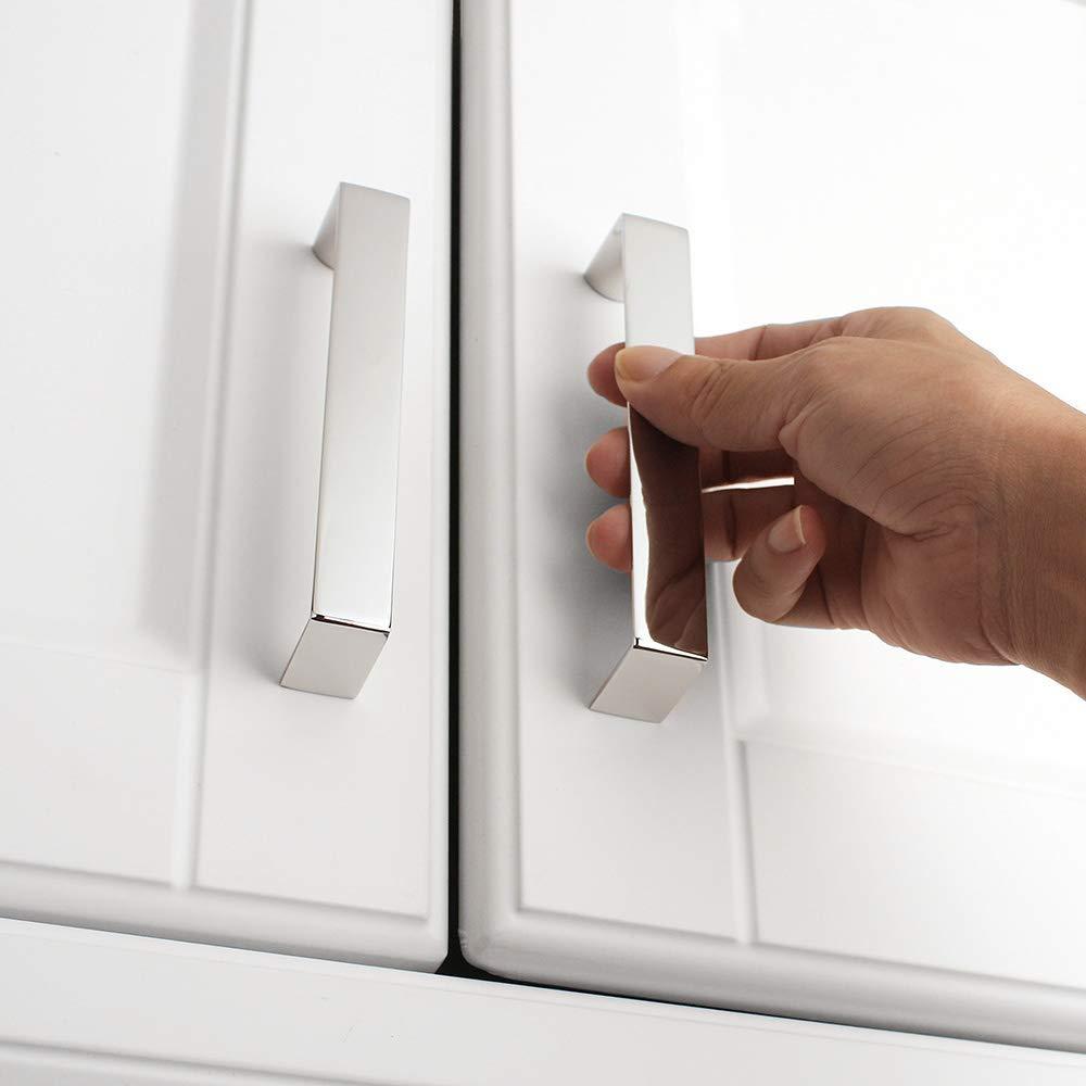 10-Pack for Kitchen Cupboard Door Bathroom Wardrobe Hardware Koofizo/® Broad D Cabinet Handle 3.8 Inch//96mm Screw Spacing Bedroom Dresser Drawer Chrome Furniture Pull