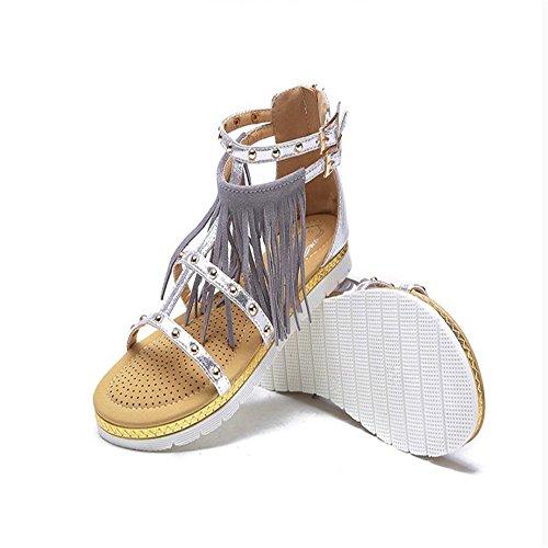Embarazada Sandalias Sandalias Mujer Silver Zapatos Con Dedo De w4SUq