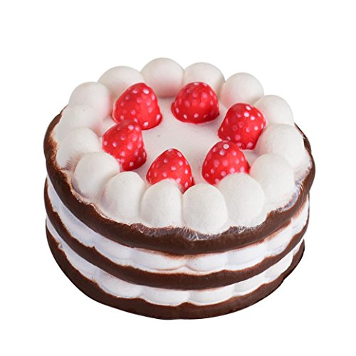 Lavany Squishy Jumbo Strawberry Cake Scented Slow Rising Exquisite Soft Toys For Kids (Coffee)