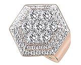 Wishrocks Round Cut Cubic Zirconia Cluster Hexagon Hip Hop Men's Ring 14K Rose Gold Over Sterling Silver