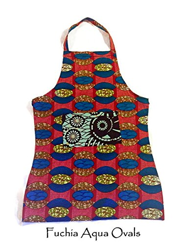 Women's Aqua Red Handmade Full Cotton Kitchen Garden Apron Africa Print Fair Trade