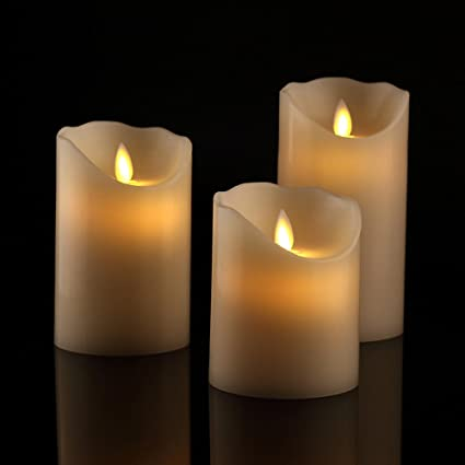 amazon com antizer flameless candles 4 5 6 set of 3 ivory