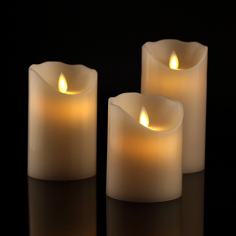 Antizer Flameless Candles 4'' 5'' 6'' Set of 3 Ivory Dripless Real Wax Pillars Include Realistic Dancing LED Flames and 10-Key Remote Control with 24-Hour Timer Function 400+ Hours by 2 AA Batteries by Antizer