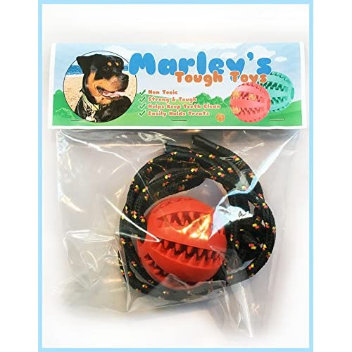 lovely Super Tough Teeth Cleaning, Stimulating, Treat Dispensing Dog Toy. Durable Safe Rubber, Comes With A Detachable Rope To Make An Interactive Tug Toy For Your Dog, As Approved By Marley The Rottweiler