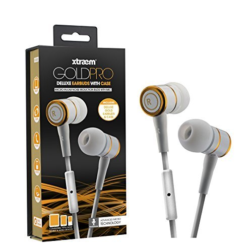 Sentry Gold Pro Metal Earbuds with In-Line Mic & Deluxe Case, White, H8000