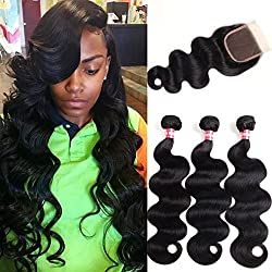 WENYU Brazilian Virgin Body Wave 3 Bundles with Closure 100% Virgin Body Wave Human Hair Weave Weft Extensions with 4x4 Lace Closure Natural Color(18 20 22+16Free Part)