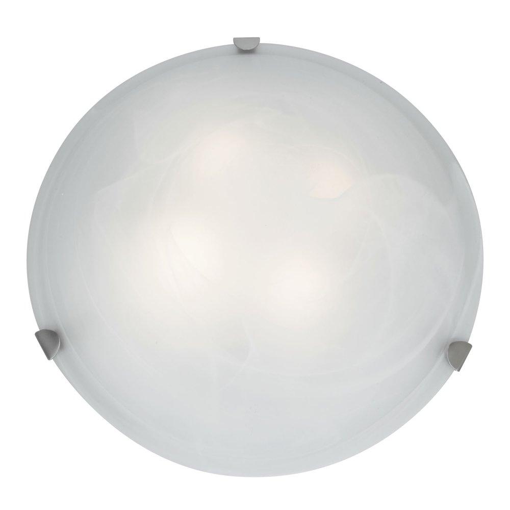 Mona - 20''dia Flush Mount - Brushed Steel Finish - Alabaster Glass Shade