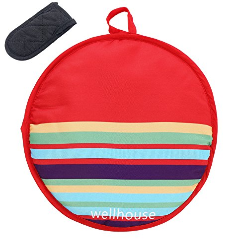 Wellhouse Tortilla Warmer 12 Inch Insulated Cloth Food Warmer Microwavable Fabric Pouch to Keep Tortillas Warm and Soft for up to One Hour (Red)