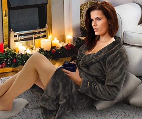 Napa Women's Super Soft Warm Plush Bathrobe Hotel Spa Robe with Pockets Brown