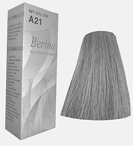 Berina Tinte Permanente para el Cabello Color Crema # A21 Gris Claro Hecho en Tailandia