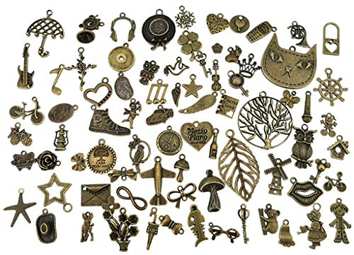 Kinteshun Alloy Mixed Multistyle Wholesale Punk Charm Pendant Connector for DIY Jewelry Making Accessaries(80pcs,Antique Bronze Tone) -