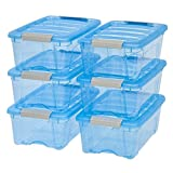 Iris 12-quart Stack and Pull Transparent Plastic Pack of 6 Storage Boxes, Blue