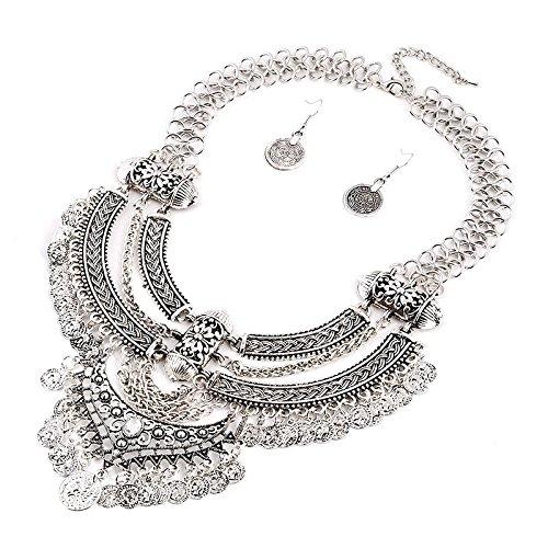 Damen Vintage Boho Troddel Münzen Schmuck Set Halsband Opulente Halskette + Earring Sliver